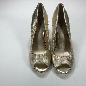 Seychelles Womens Gold Open Toe Wedge Heels Shoes